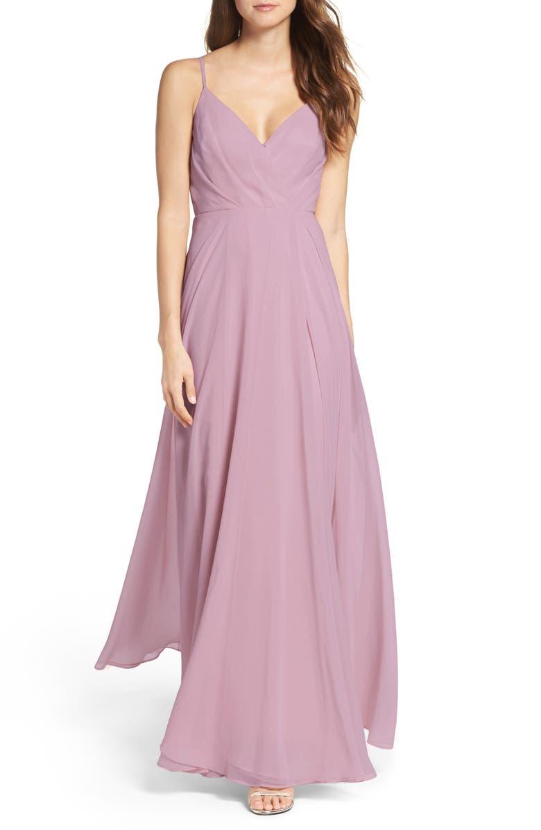 LULUS Surplice Chiffon Gown, Main, color, DUSTY LAVENDER