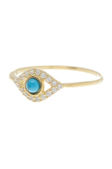 Image of ADORNIA 14K Yellow Gold Vermeil Turquoise & Swarovski Crystal Accented Evil Eye Ring