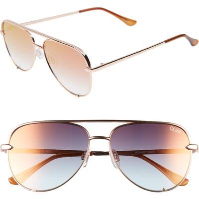 Quay Australia X Desi Perkins High Key Mini 57Mm Aviator Sunglasses - Rose/ Cprfd