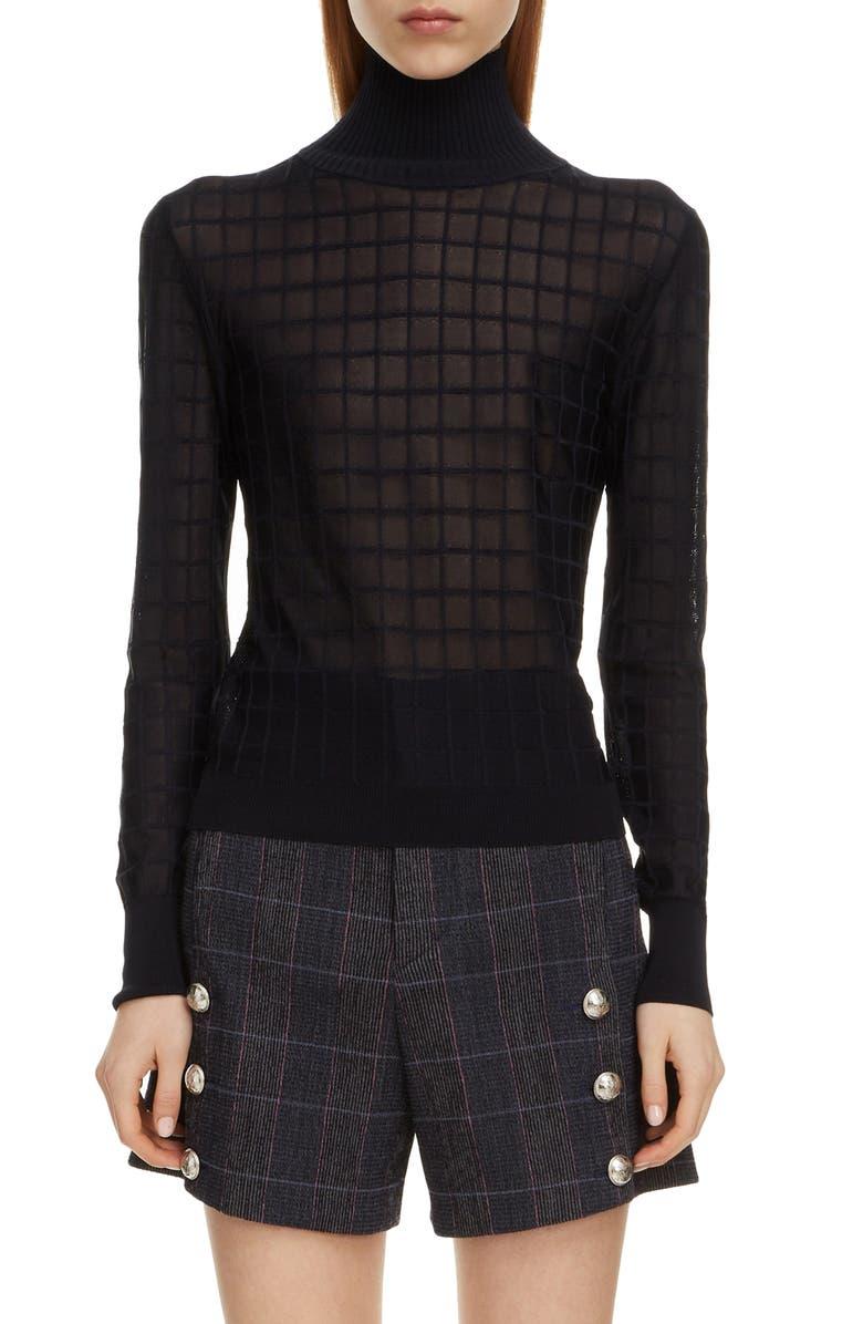 CHLOÉ Grid Pattern Turtleneck Sweater, Main, color, 401