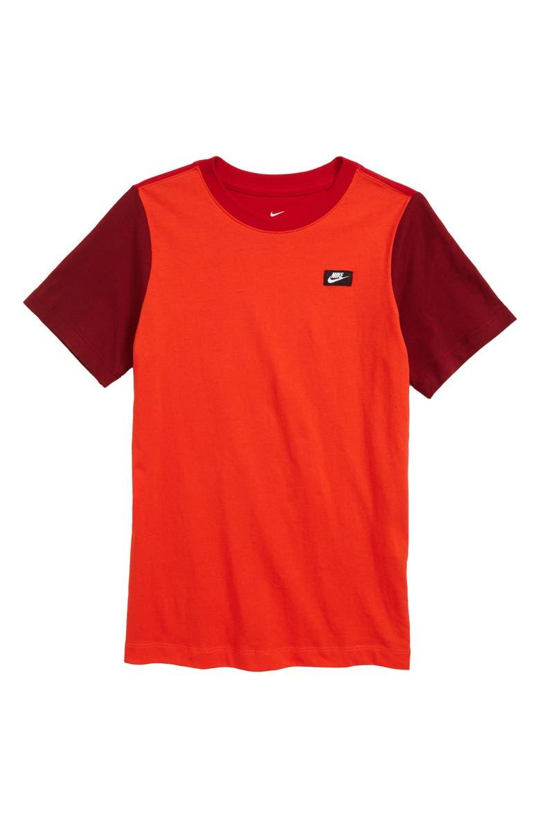 NIKE Sportswear '90s Colorblock T-Shirt, Main, color, HABANERO RED