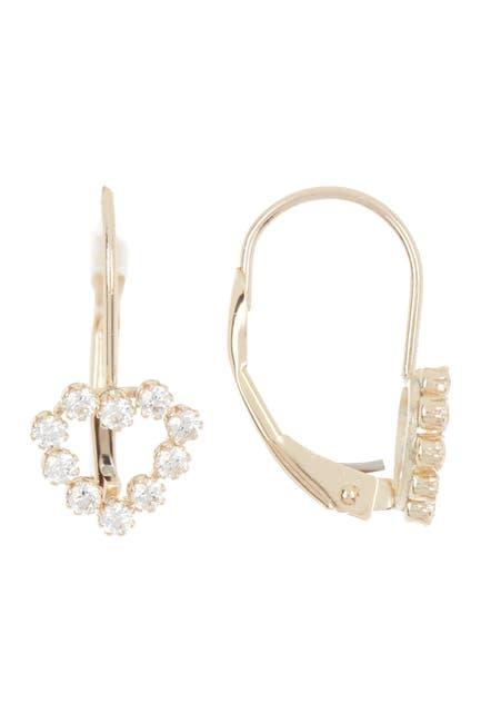 Image of Candela 10K Gold & Swarovski CZ Heart Drop Earrings