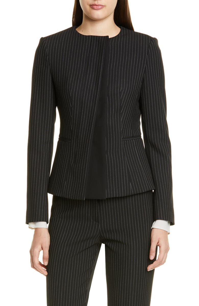 BOSS Jadela Pinstripe Ponte Suit Jacket, Main, color, BLACK PINSTRIPE