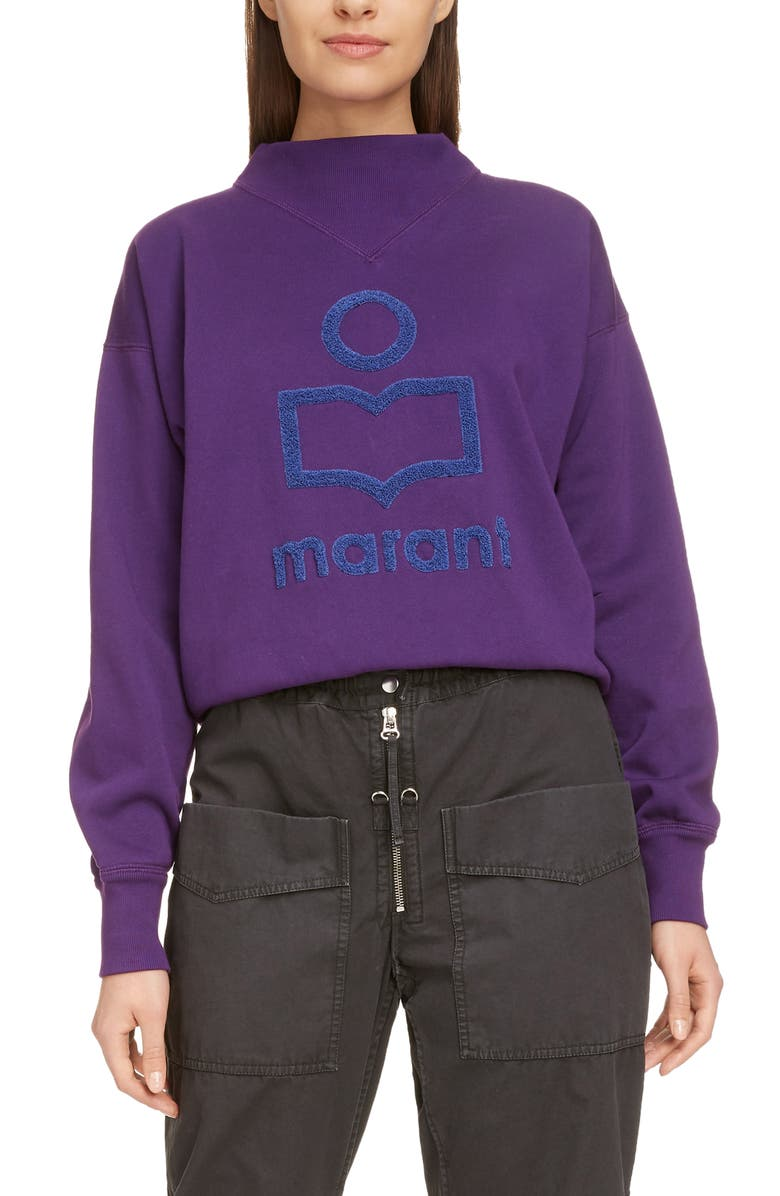 ISABEL MARANT ÉTOILE Moby Logo Sweatshirt, Main, color, PURPLE