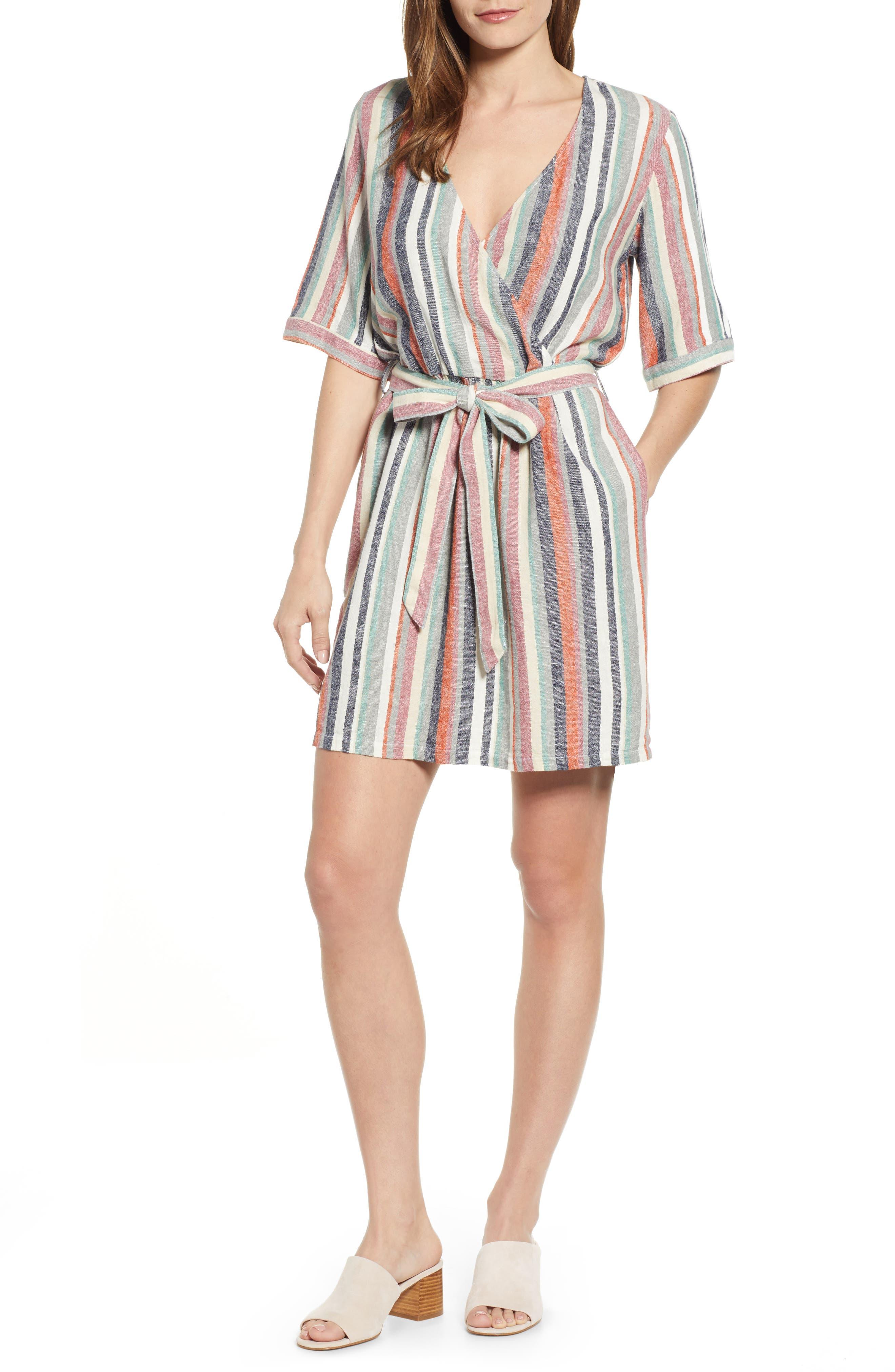 Petite Caslon Stripe Minidress, Beige