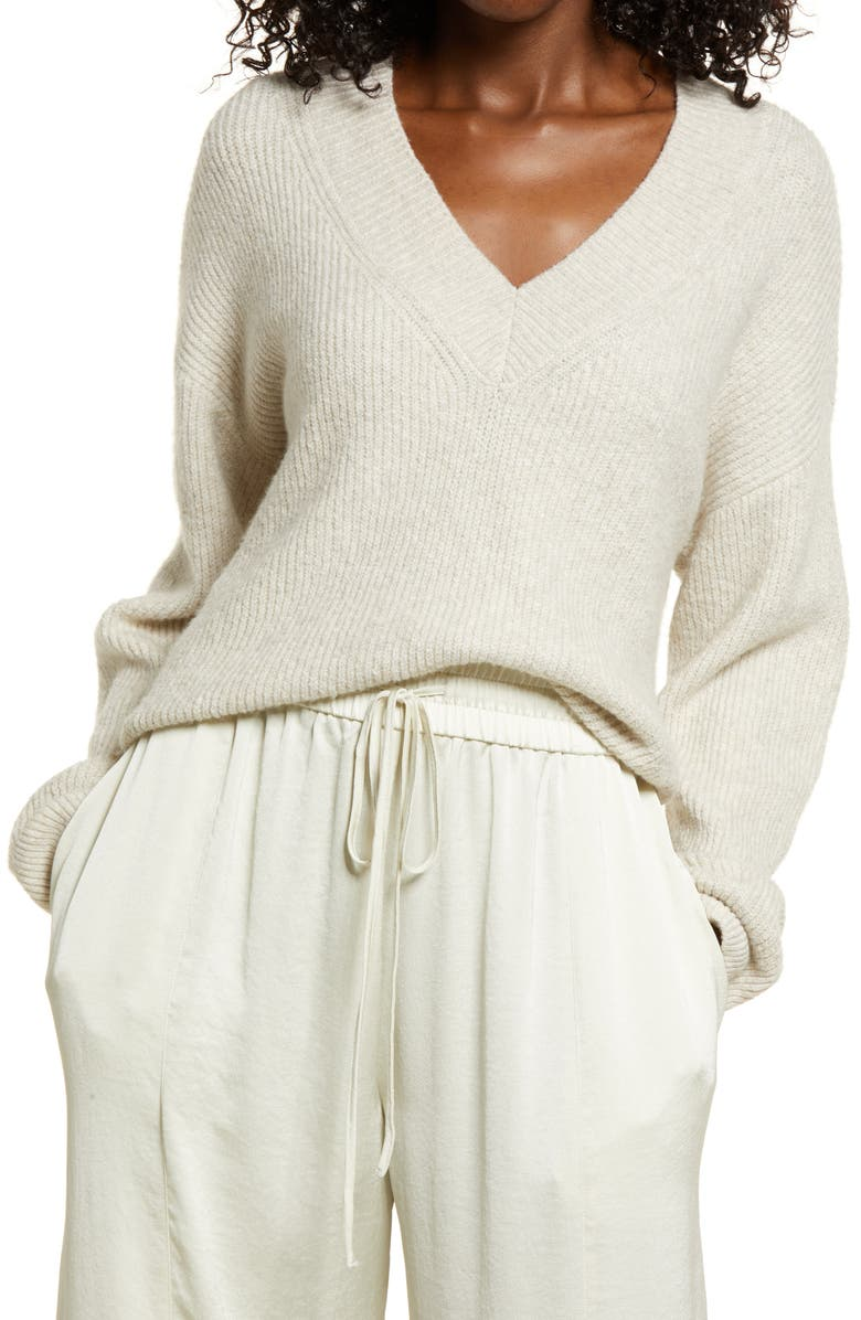 OPEN EDIT Rib Stitch Sweater, Main, color, BEIGE OATMEAL MEDIUM HEATHER