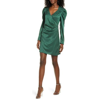 Wayf Rhinestone Button Detail Ruched Long Sleeve Minidress, Green