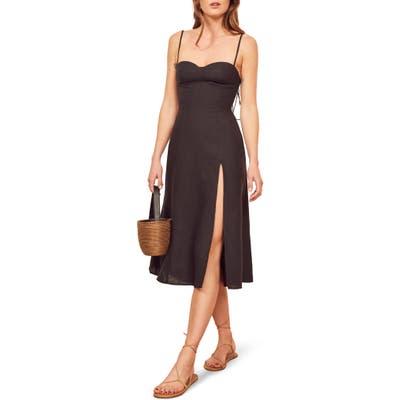 Reformation Nebraska Linen Dress, Black