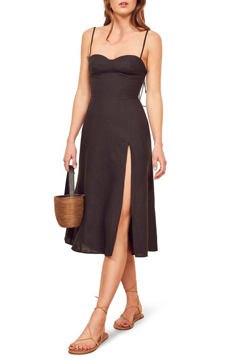 REFORMATION Nebraska Linen Dress, Main, color, BLACK