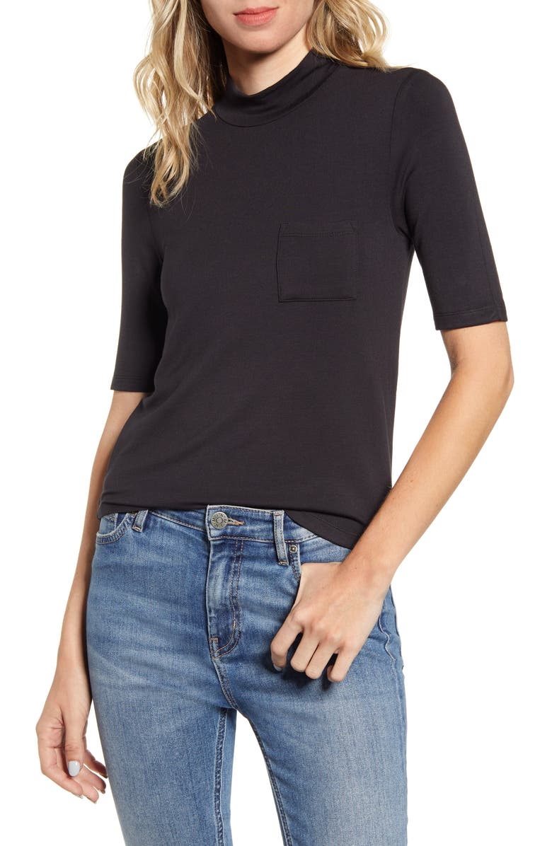 ARTICLES OF SOCIETY Mock Neck Pocket Tee, Main, color, BLACK