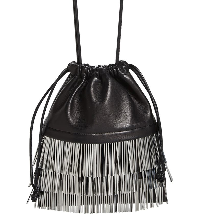 ALEXANDER WANG Ryan Bugle Bead Fringe Dustbag Pouch, Main, color, BLACK