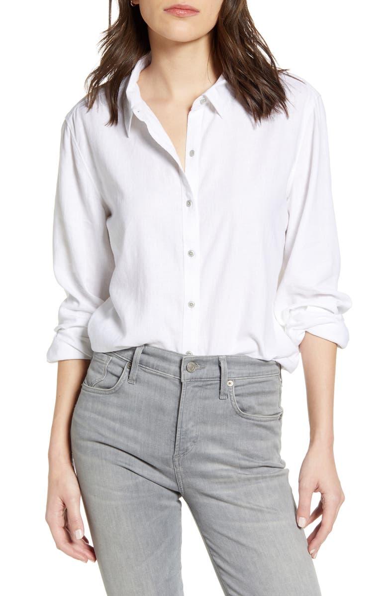 CASLON<SUP>®</SUP> Camo Linen Blend Button Front Top, Main, color, WHITE