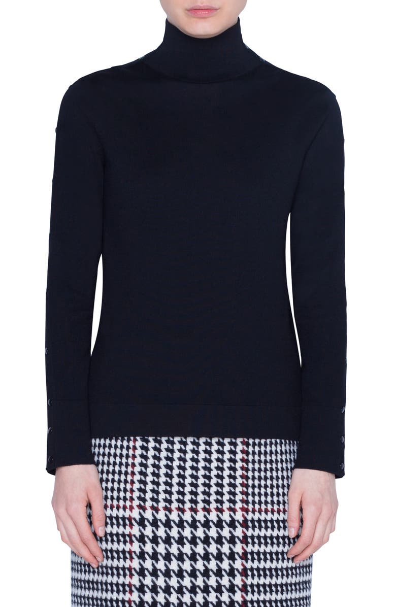 AKRIS PUNTO Snap Sleeve Wool Sweater, Main, color, BLACK