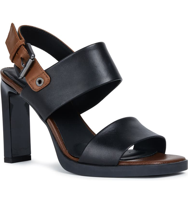 GEOX Jenieve 1 Sandal, Main, color, BLACK/ BROWN LEATHER