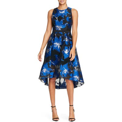 Halston Heritage Floral Fil Coupe Fit & Flare Dress, Blue