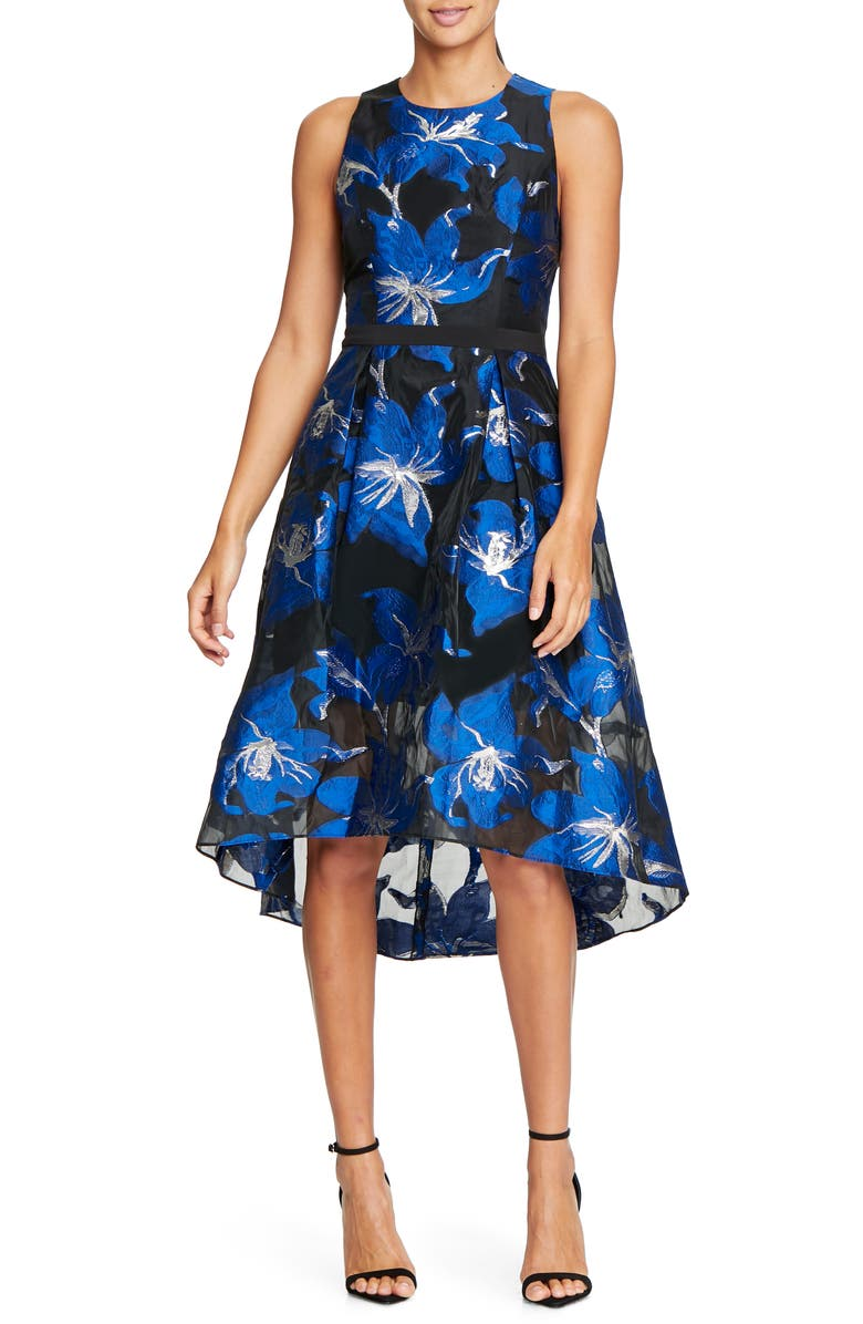 HALSTON HERITAGE Floral Fil Coupé Fit & Flare Dress, Main, color, 408