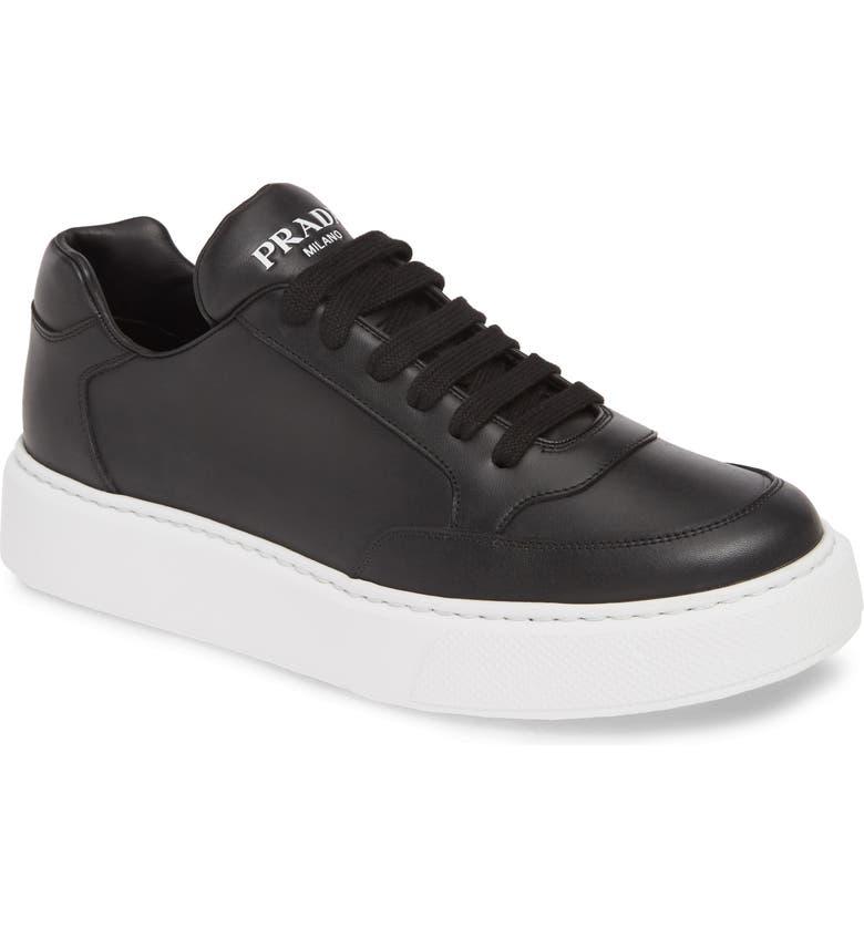 PRADA Low Top Sneaker, Main, color, NERO/ BIANCO
