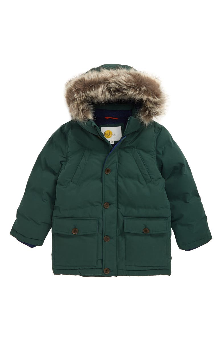 MINI BODEN Waterproof Puffer Parka with Faux Fur Trim, Main, color, COUNTRY GREEN