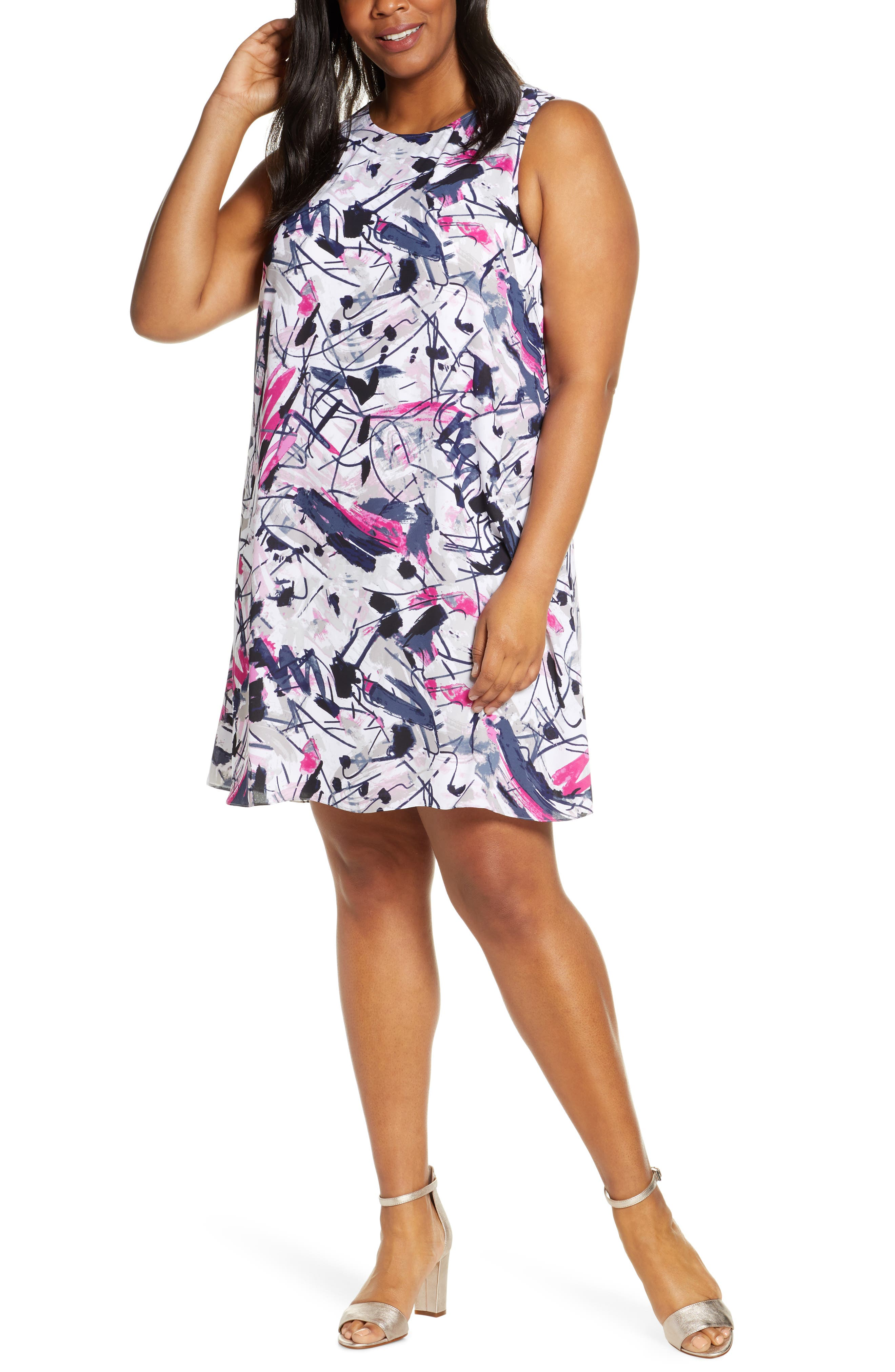 Plus Size Nic+Zoe Graffiti Femme Shift Dress, White
