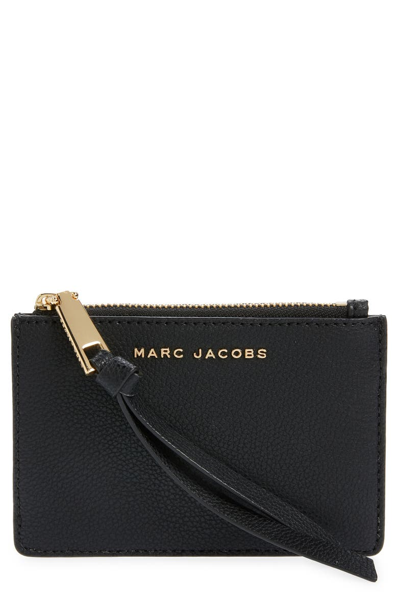 MARC JACOBS The Marc Jacobs The Simple Top Zip Leather Wallet, Main, color, BLACK