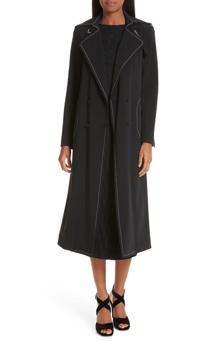 RACHEL COMEY Roe Contrast Stitch Trench Coat, Main, color, 001