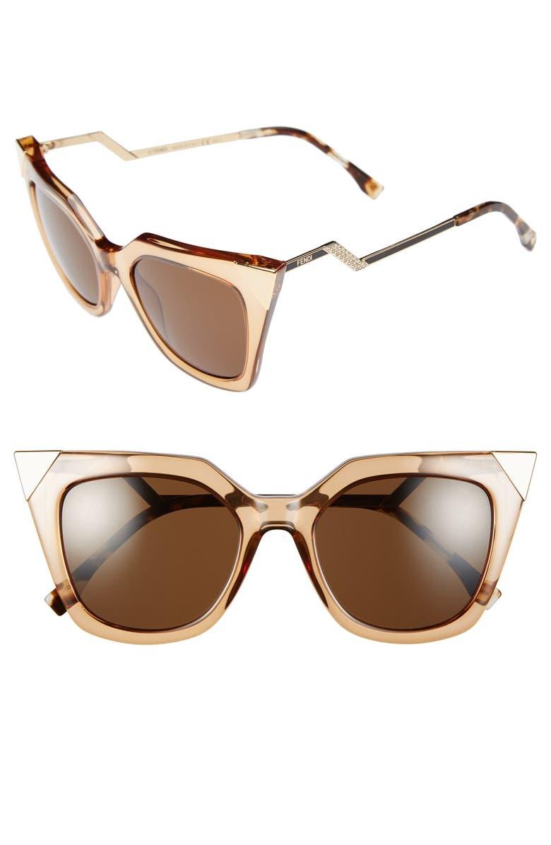 FENDI 52mm Cat Eye Sunglasses, Main, color, 250