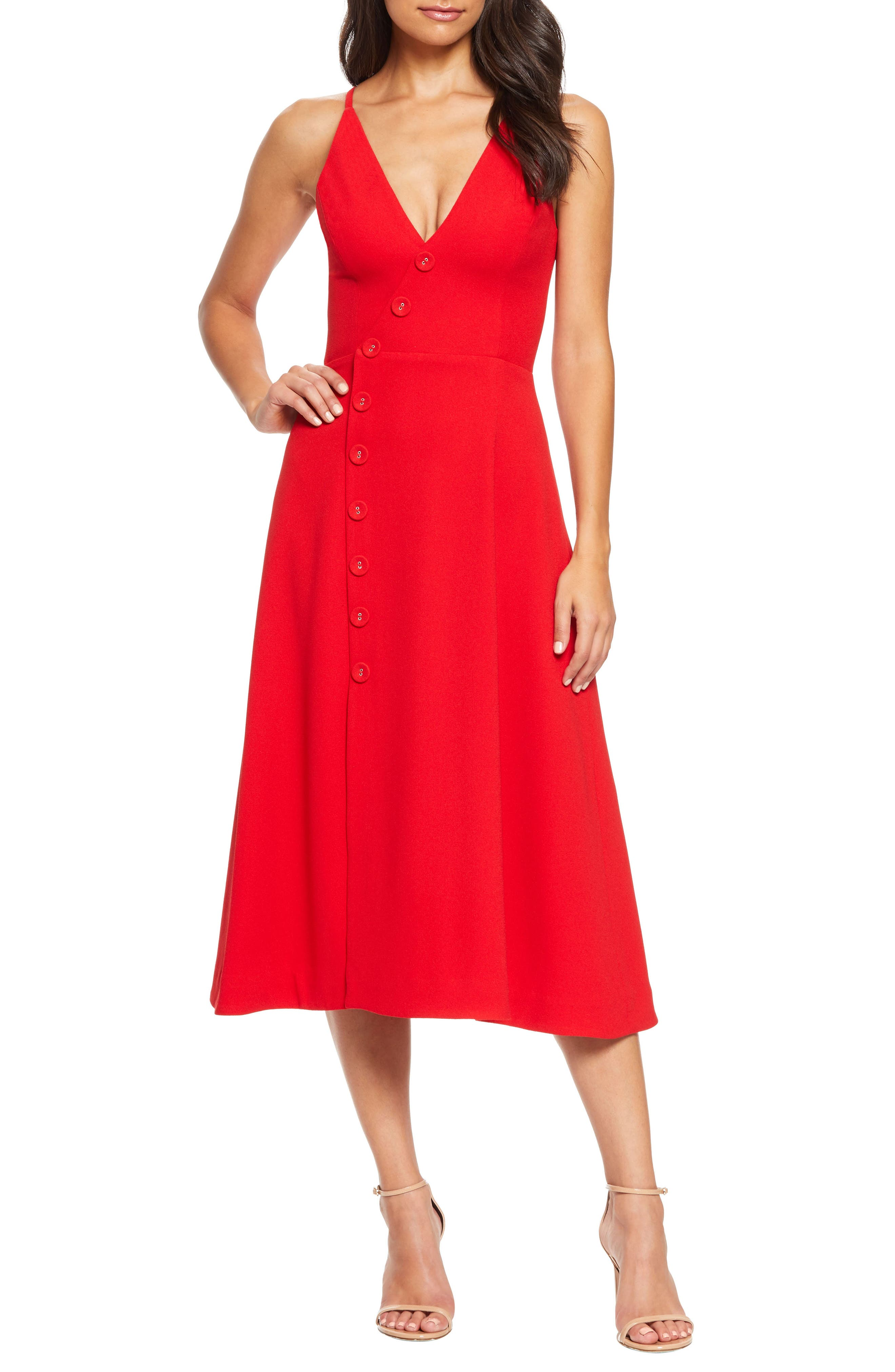 Dress The Population Emily Asymmetrical Front Button Cocktail Dress, Red
