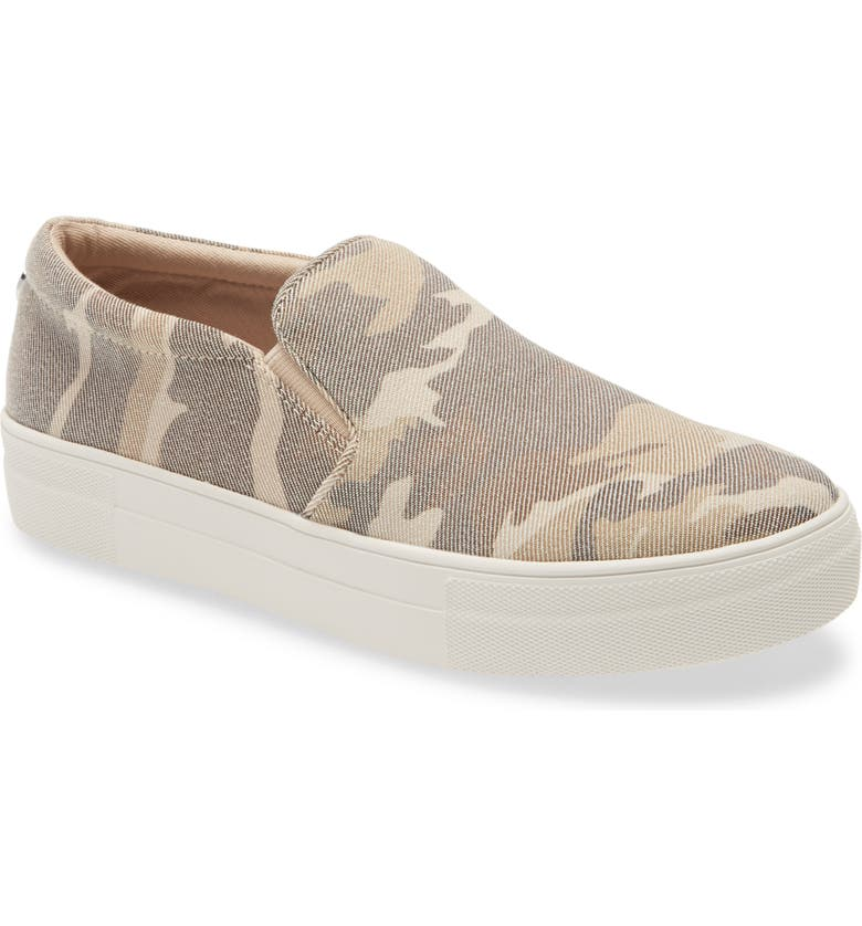 STEVE MADDEN Gills Platform Slip-On Sneaker, Main, color, TAN CAMO