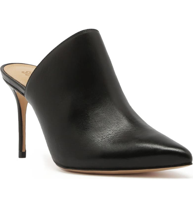 SCHUTZ Bardot Mule, Main, color, BLACK/ BLACK LEATHER