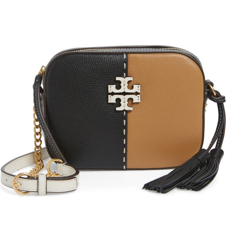 TORY BURCH McGraw Colorblock Leather Camera Bag, Main, color, 001