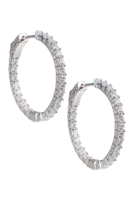 Image of CZ By Kenneth Jay Lane Rhodium Plated Round Cubic Zirconia Inside/Outside Mech Hoop Earrings