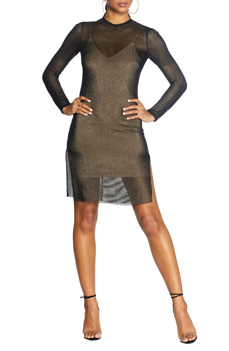 COSMOPOLITAN DRESS THE POPULATION Viola Long Sleeve Mesh Minidress, Main, color, BLACK GOLD