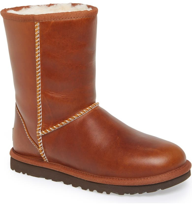 UGG<SUP>®</SUP> Australia 'Classic Short' Leather Water Resistant Boot, Main, color, 219