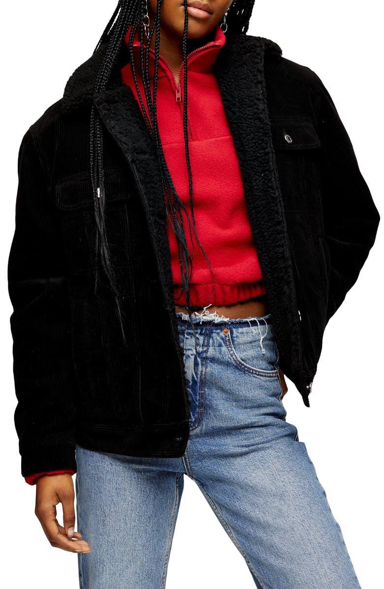 TOPSHOP Oversized Corduroy Jacket, Main, color, BLACK