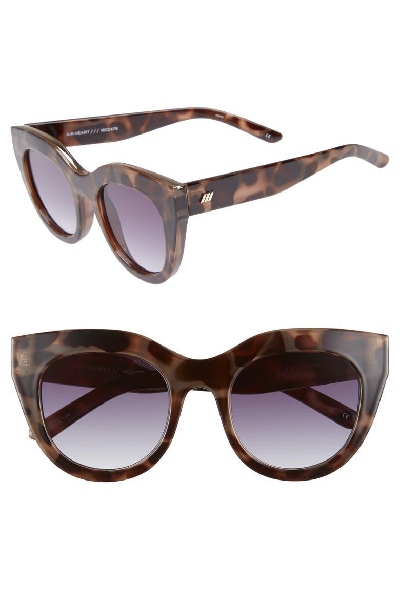 LE SPECS Air Heart 51mm Cat Eye Sunglasses, Main, color, VOLCANIC TORTOISE