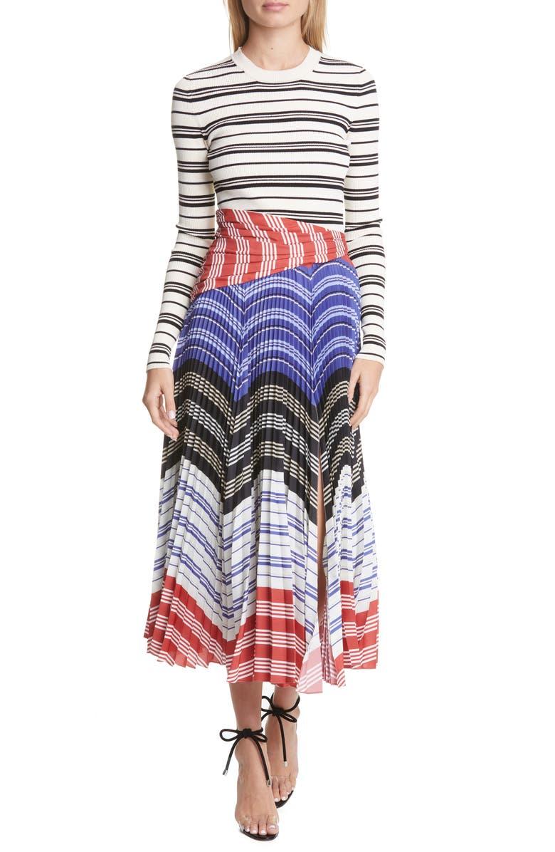 ALTUZARRA Stripe Long Sleeve Dress, Main, color, 900