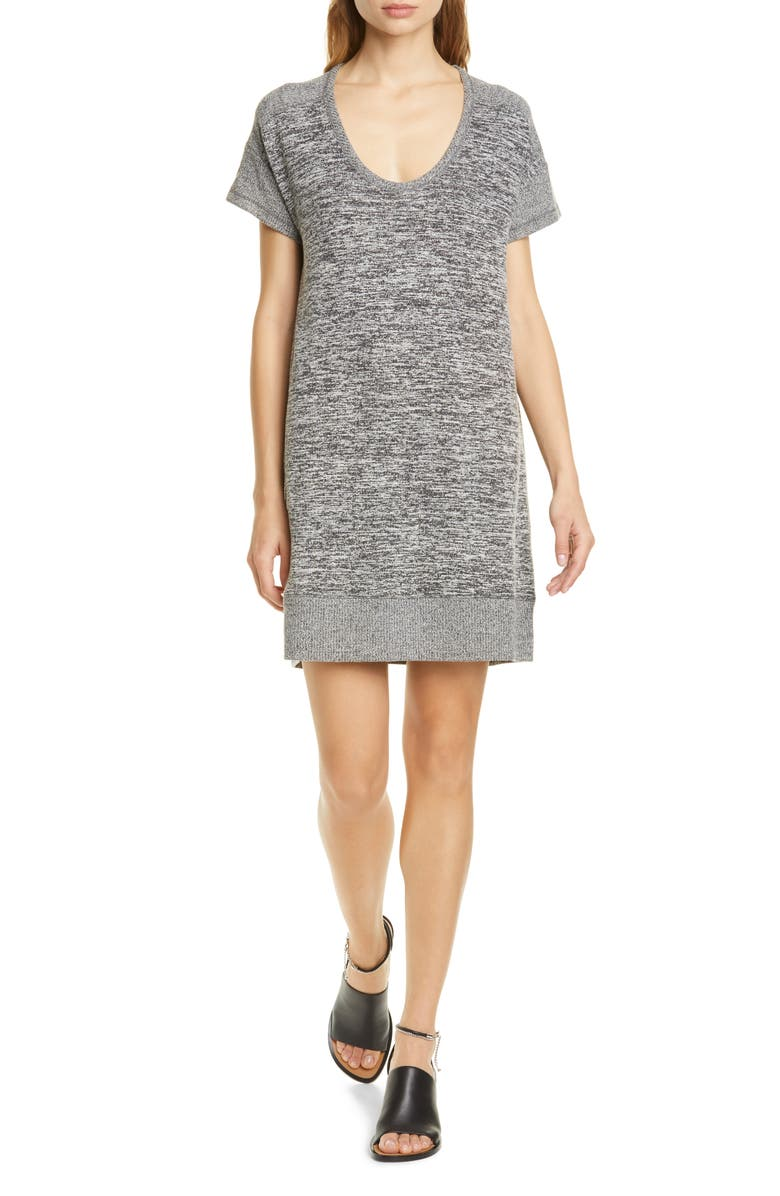 RAG & BONE Ramona Scoop Neck Shift Dress, Main, color, BLACK/ WHITE