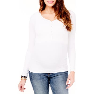Ingrid & Isabel Ribbed Maternity/nursing Henley Tee, White