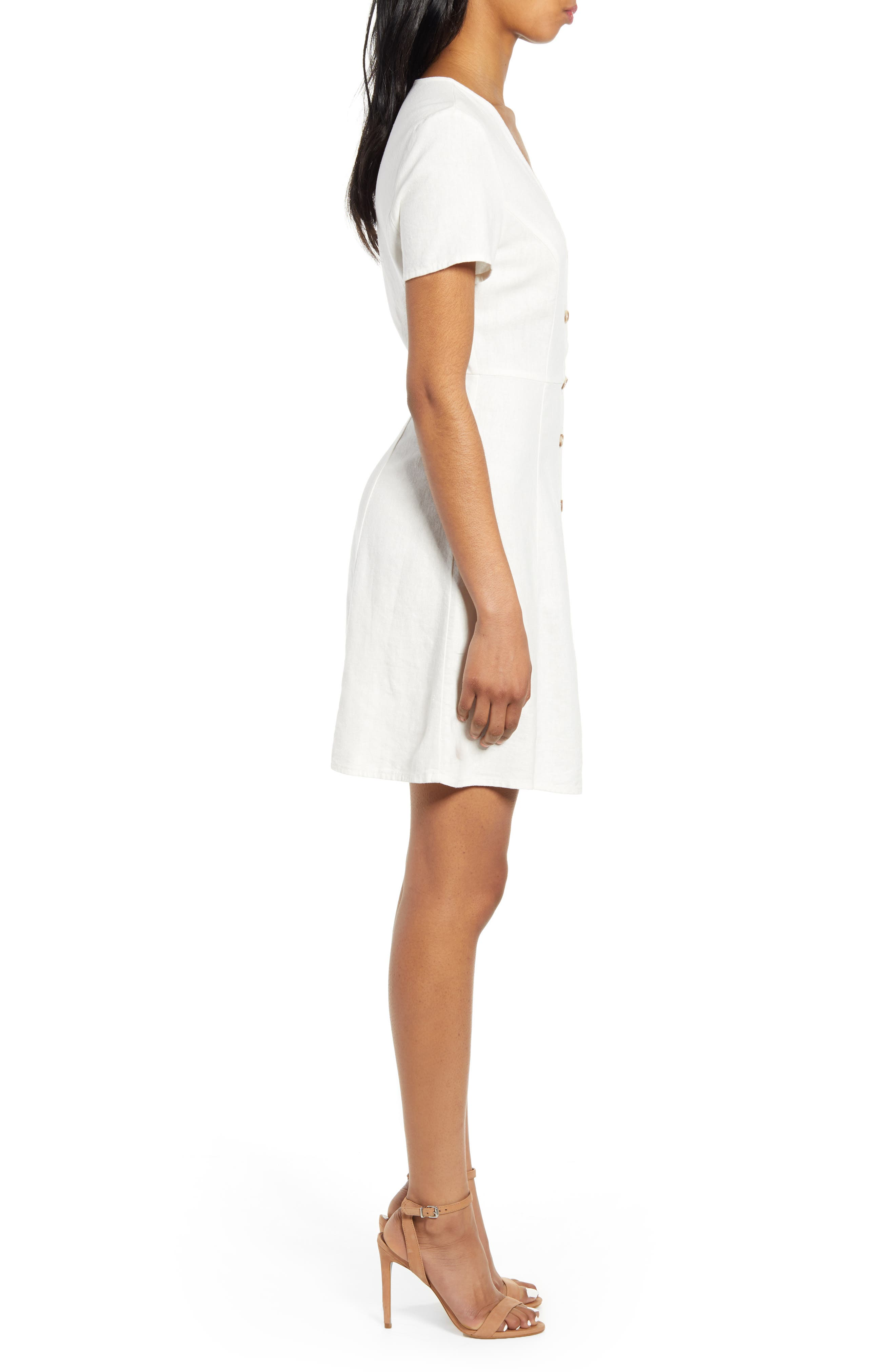 ,                             Anna Button Through Fit & Flare Dress,                             Alternate thumbnail 3, color,                             SNOW WHITE