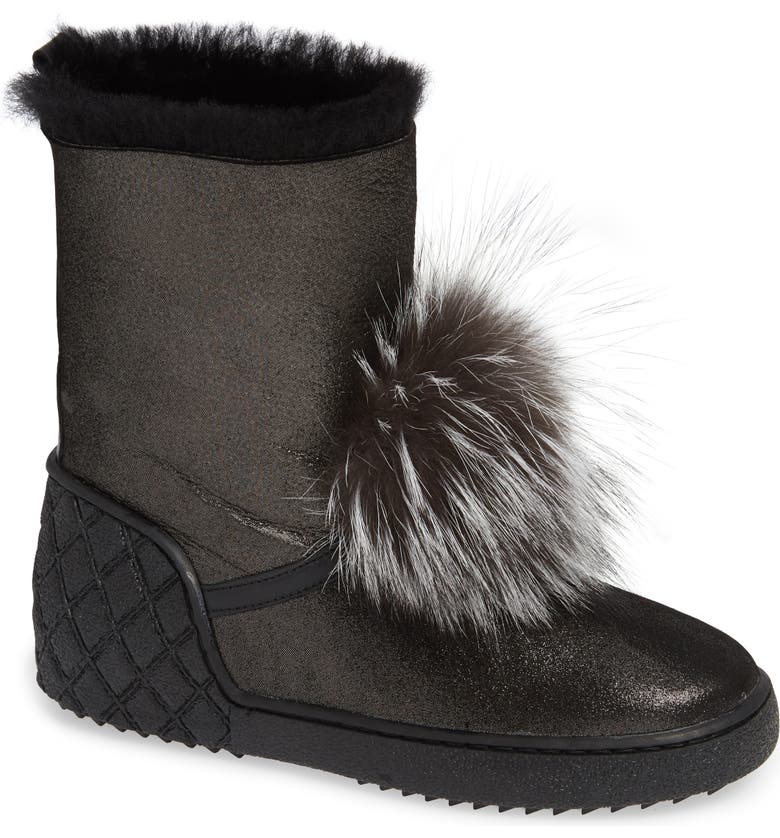 SHERIDAN MIA Toto Genuine Fox Fur Bootie, Main, color, 005
