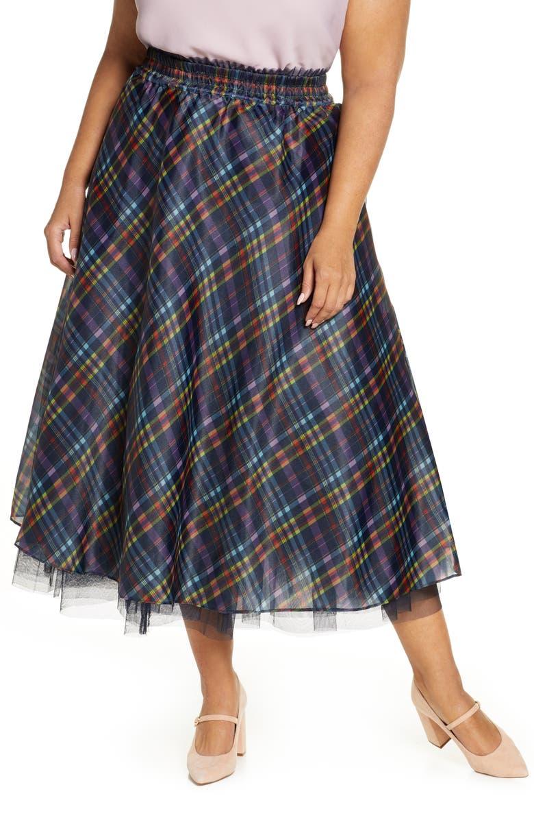 HALOGEN<SUP>®</SUP> x Atlantic-Pacific Full Organza Midi Skirt, Main, color, NAVY PLAID