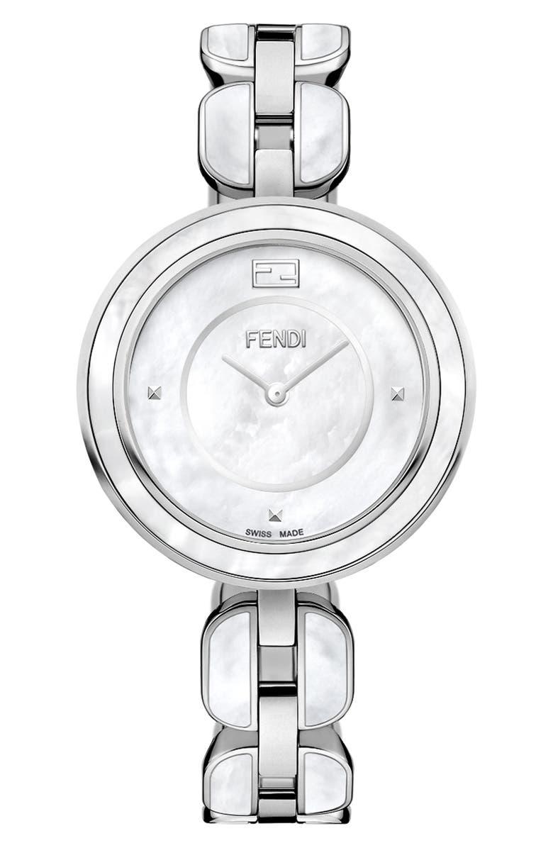 FENDI My Way Genuine Fox Fur Bracelet Watch, 36mm, Main, color, 040