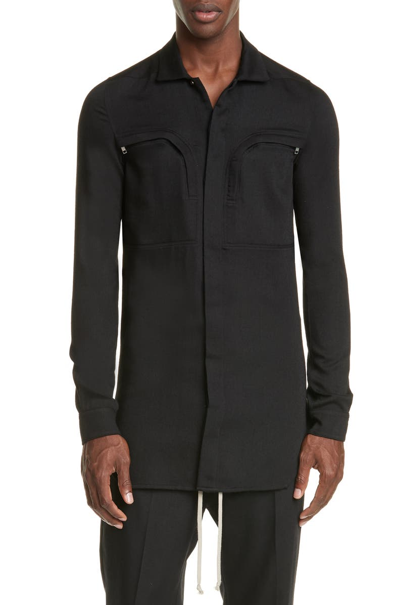 RICK OWENS Camica Wool Office Shirt, Main, color, BLACK