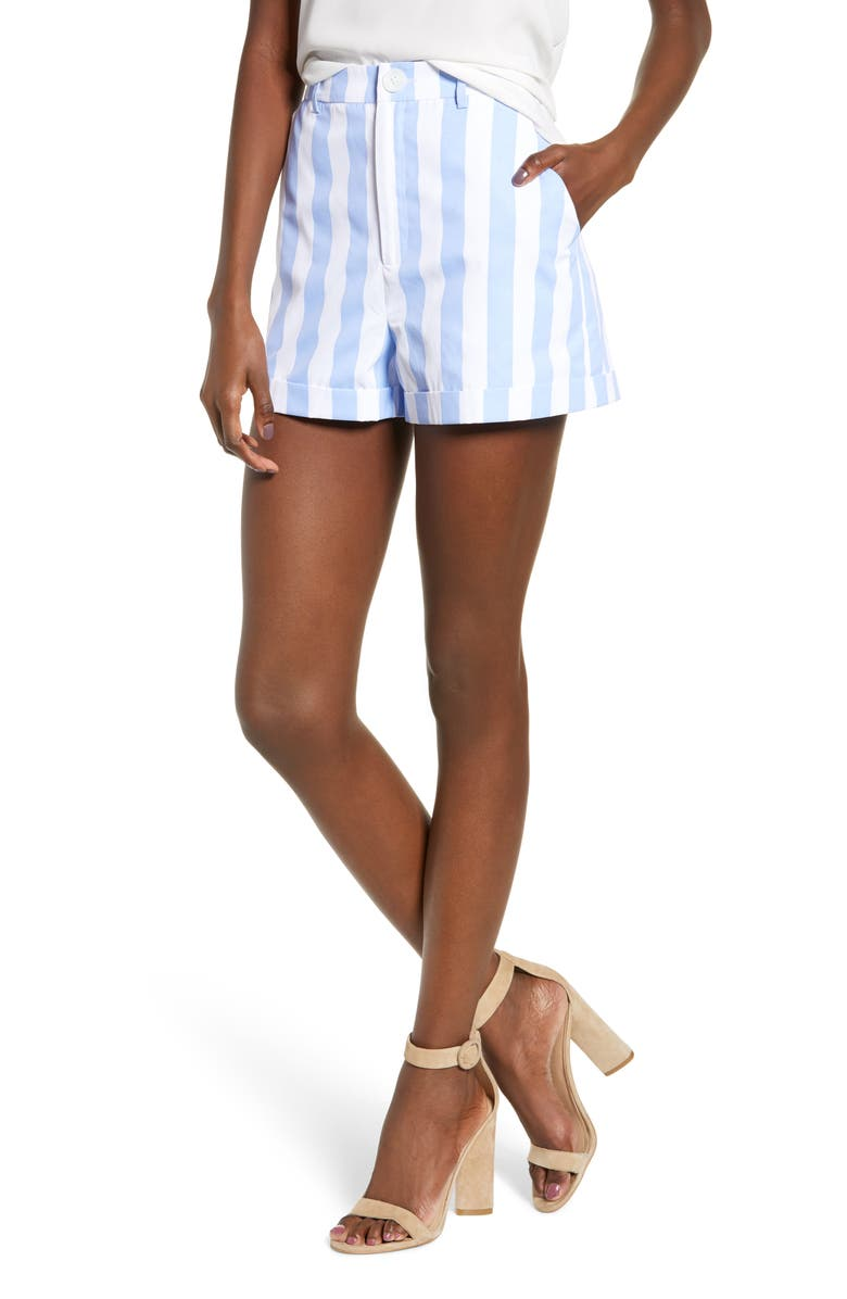 English Factory Stripe High Waist Shorts