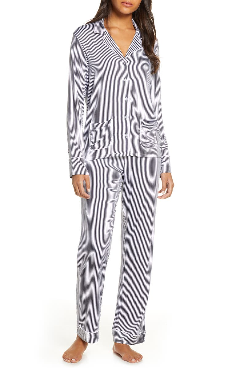 SPLENDID Woven Long Pajamas, Main, color, VERTICAL HEAVENLY STRIPE