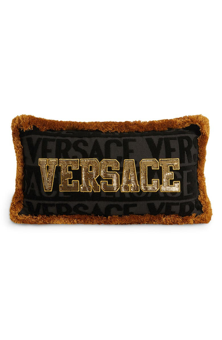 VERSACE Sequin Logo Fringe Accent Pillow, Main, color, 001