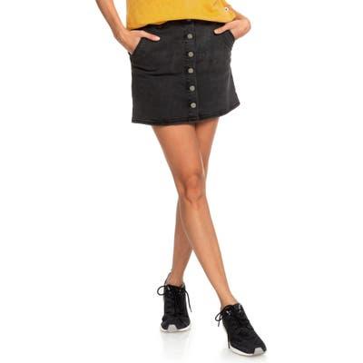 Roxy Wild Young Spirit Denim Miniskirt, Black