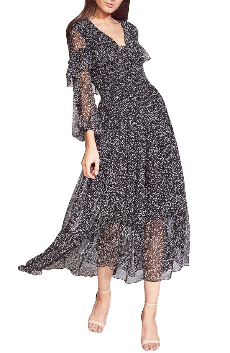 BARDOT Kamila Print Long Sleeve Chiffon Dress, Main, color, SPECKLE