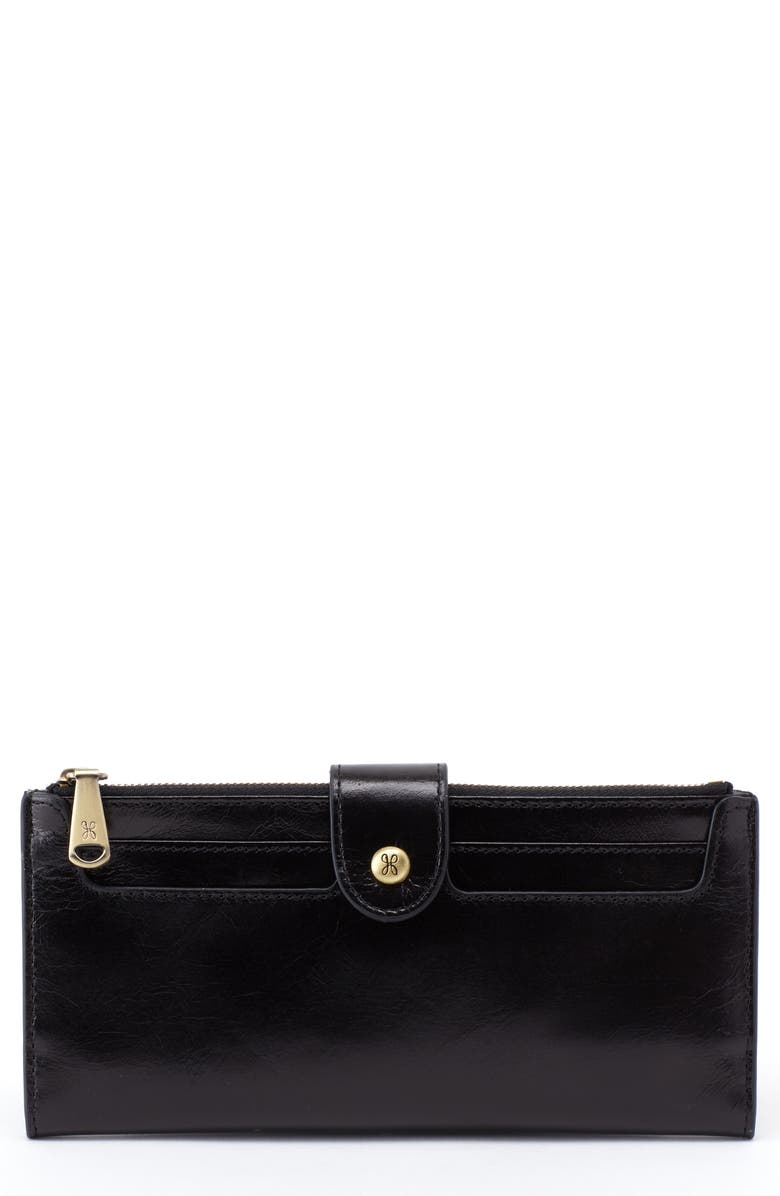 HOBO Dunn Leather Continental Wallet, Main, color, BLACK