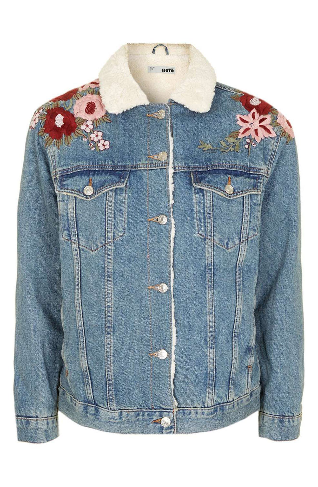 ,                             Embroidered Western Denim Jacket,                             Alternate thumbnail 4, color,                             400